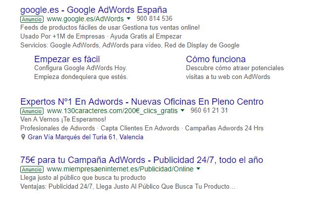 Campaña en red de búsqueda de Google Adwords. Agencia SEM